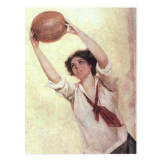 Vintage Sports Woman Basketball Player Postcards