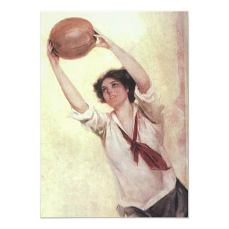 Vintage Sports, Woman Basketball Player with Ball 13 Cm X 18 Cm Invitation Card