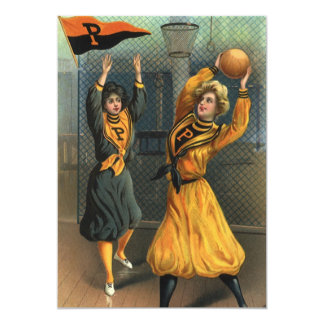Vintage Sports, Women Team Playing Basketball Game 13 Cm X 18 Cm Invitation Card