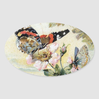 Vintage Spring Butterfly Flowers Sticker