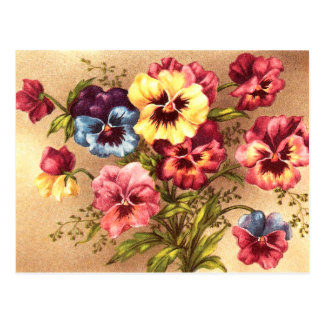 Vintage Spring Flowers Postcard