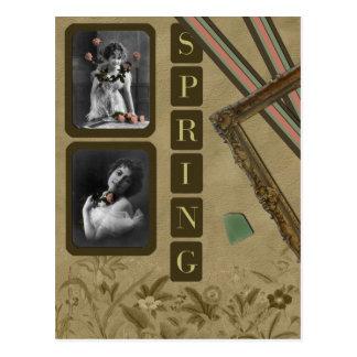 """Vintage """"Spring"""" Scrapbook Postcard"""