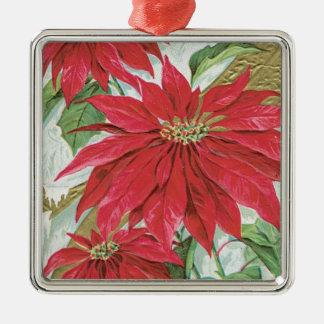 Vintage Square Poinsettia Square Metal Christmas Ornament