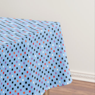 Vintage Square Polka Dots Pattern Red Purple Blue Tablecloth