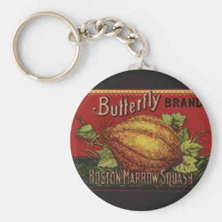 Vintage Squash Label Antique Vegetable Advertising Basic Round Button Key Ring