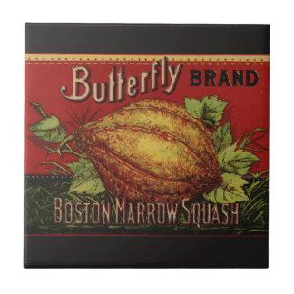 Vintage Squash Label Antique Vegetable Advertising Small Square Tile