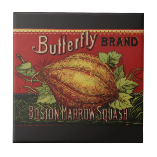 Vintage Squash Label Antique Vegetable Advertising Ceramic Tiles