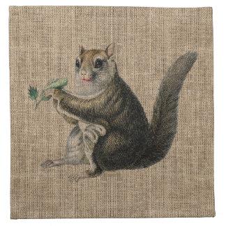 Vintage Squirrel on Burlap Cloth Napkin