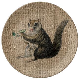 Vintage Squirrel on Burlap Porcelain Plate