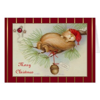 Vintage Squirrel, pine and acorn Christmas Card