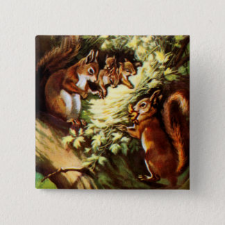 Vintage Squirrels 15 Cm Square Badge