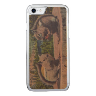 Vintage Squirrels Mountain Scene Carved iPhone 8/7 Case
