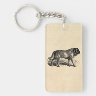 Vintage St. Bernard Dog 1800s Saint Bernards Dogs Single-Sided Rectangular Acrylic Key Ring
