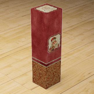Vintage St. Nicholas Ho Ho Ho Christmas Gift Box Wine Gift Boxes