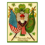 Vintage St Patrick American Flag St Patrick's Day Post Card