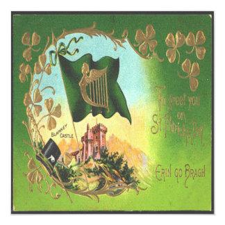 Vintage St Patricks Day  1 Greeting Card 13 Cm X 13 Cm Square Invitation Card