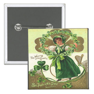 Vintage St Patricks Day 2 Pinback Buttons