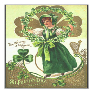 Vintage St Patricks Day 2 Greeting Card 13 Cm X 13 Cm Square Invitation Card