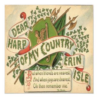Vintage St Patricks Day 4 Greeting Card 13 Cm X 13 Cm Square Invitation Card