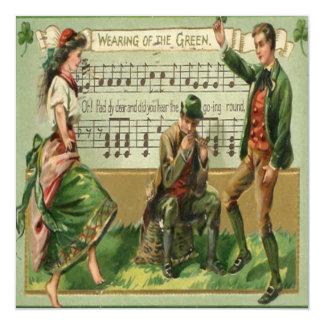 Vintage St Patricks Day 5 Greeting Card 13 Cm X 13 Cm Square Invitation Card