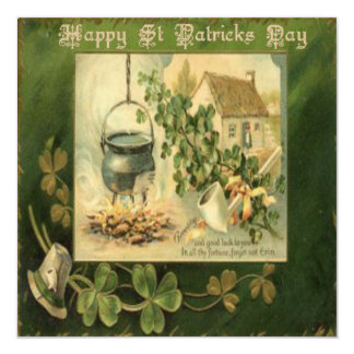 Vintage St Patricks Day 6 Greeting Card 13 Cm X 13 Cm Square Invitation Card