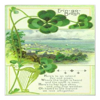 Vintage St Patricks Day 7 Greeting Card 13 Cm X 13 Cm Square Invitation Card