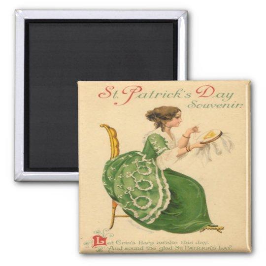 Vintage St Patricks Day 8 Square Magnet