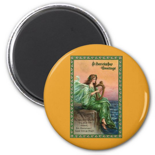 Vintage St. Patrick's Day. Exile of Erin Beach 6 Cm Round Magnet