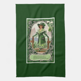 Vintage St. Patrick's Day Girl Tea Towel