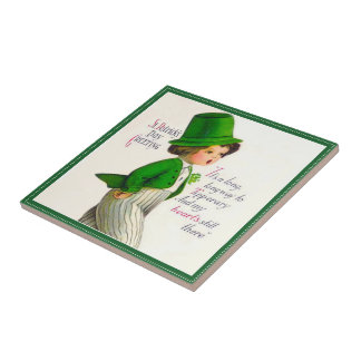 Vintage St. Patrick's Day Greeting Small Square Tile
