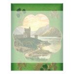 Vintage St. Patricks Day Greetings Castle Shamrock Full Color Flyer