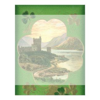 Vintage St. Patricks Day Greetings Castle Shamrock Flyer