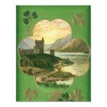 Vintage St. Patricks Day Greetings Castle Shamrock 11 Cm X 14 Cm Invitation Card