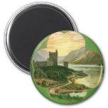 Vintage St. Patricks Day Greetings Castle Shamrock 6 Cm Round Magnet