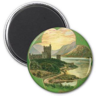 Vintage St. Patricks Day Greetings Castle Shamrock Magnet