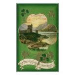 Vintage St. Patricks Day Greetings Castle Shamrock Poster