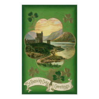 Vintage St. Patricks Day Greetings Castle Shamrock Poster