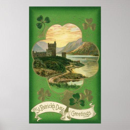 Vintage St. Patricks Day Greetings Castle Shamrock Print
