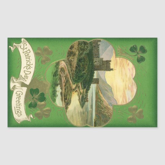 Vintage St. Patricks Day Greetings Castle Shamrock Rectangular Sticker