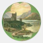 Vintage St. Patricks Day Greetings Castle Shamrock Round Sticker