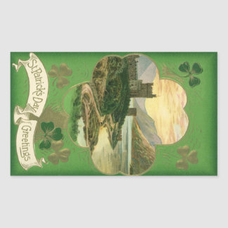 Vintage St. Patricks Day Greetings Castle Shamrock Rectangular Sticker