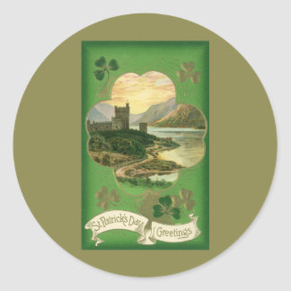 Vintage St. Patricks Day Greetings Castle Shamrock Round Stickers