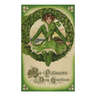 Vintage St. Patrick's Day Greetings, Clover Lassy Poster