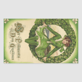 Vintage St. Patrick's Day Greetings, Clover Lassy Rectangle Sticker