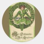 Vintage St. Patrick's Day Greetings, Clover Lassy Round Sticker
