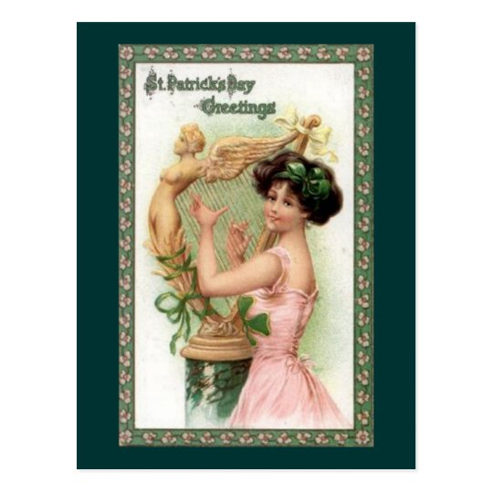 Vintage St. Patrick's Day Lady and Harp Postcard