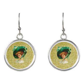 Vintage St Patricks Day Lady Gold Faux Glitter Earrings