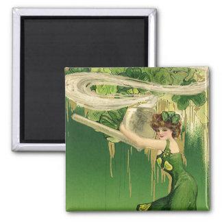 Vintage St. Patrick's Day, Lady Pipe Smoke Swirls Refrigerator Magnets