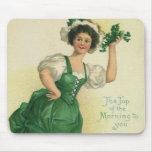 Vintage St. Patrick's Day Lass, Lucky Shamrocks Mousepad