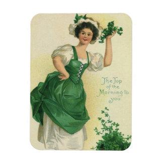 Vintage St. Patrick's Day Lass, Lucky Shamrocks Rectangular Photo Magnet